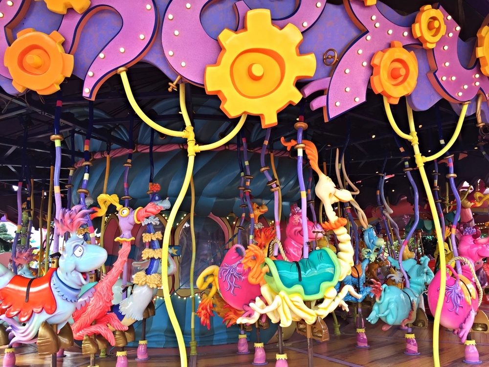 The Caro-Seuss-El is a Seuss themed carousel with interactive mounts.