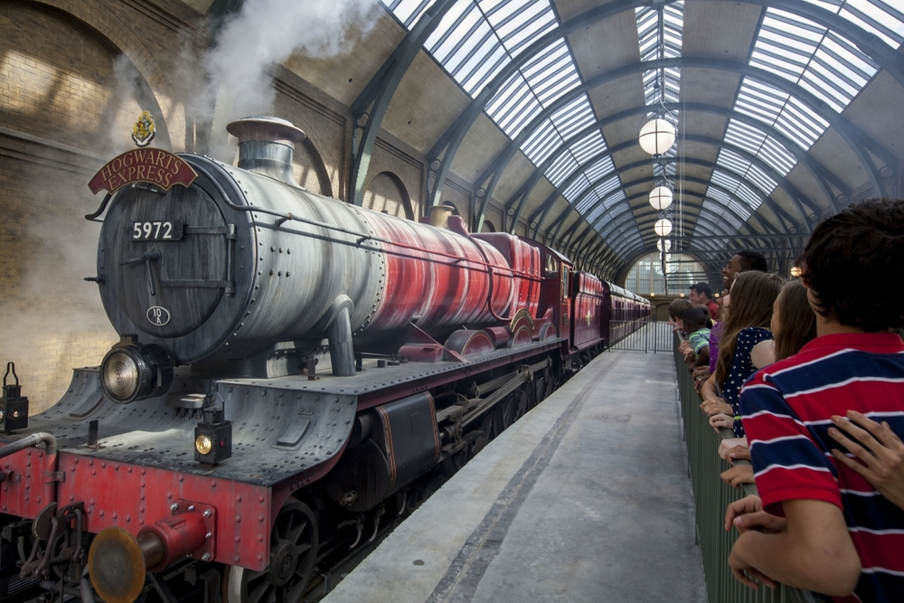 Learn about the Hogwarts Express train that takes guests from King's Cross Station in London to Hogsmeade Station.