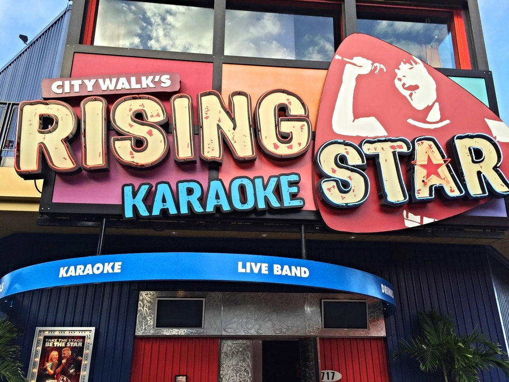 CityWalk's Rising Star is a karaoke club with a live band and backup singers.
