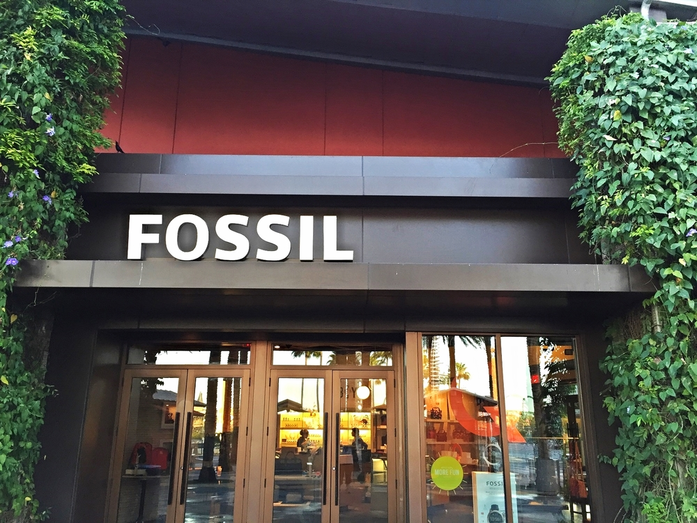 Fossil sells designer watches, metal and leather wristbands, belts, bags, wallets, and sunglasses.