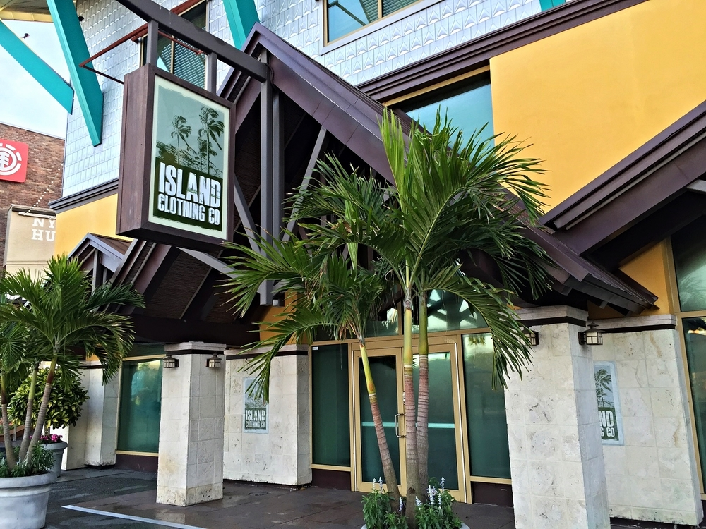 The Island Clothing Store sells casual clothing, including sportswear and swimwear.