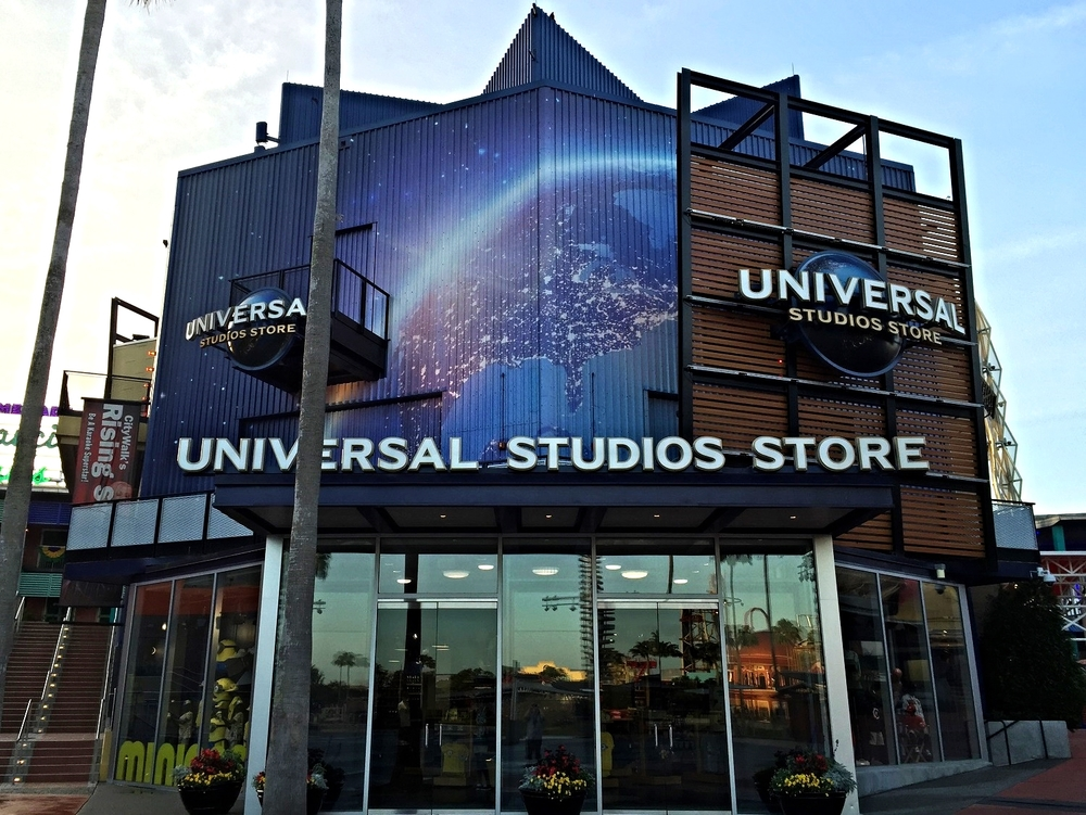 The Universal Studios Store sells theme park merchandise and items with the Universal logo.