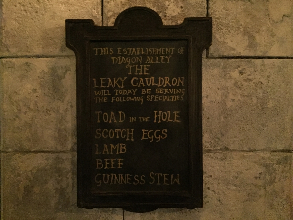 Leaky Cauldron Specials Menu