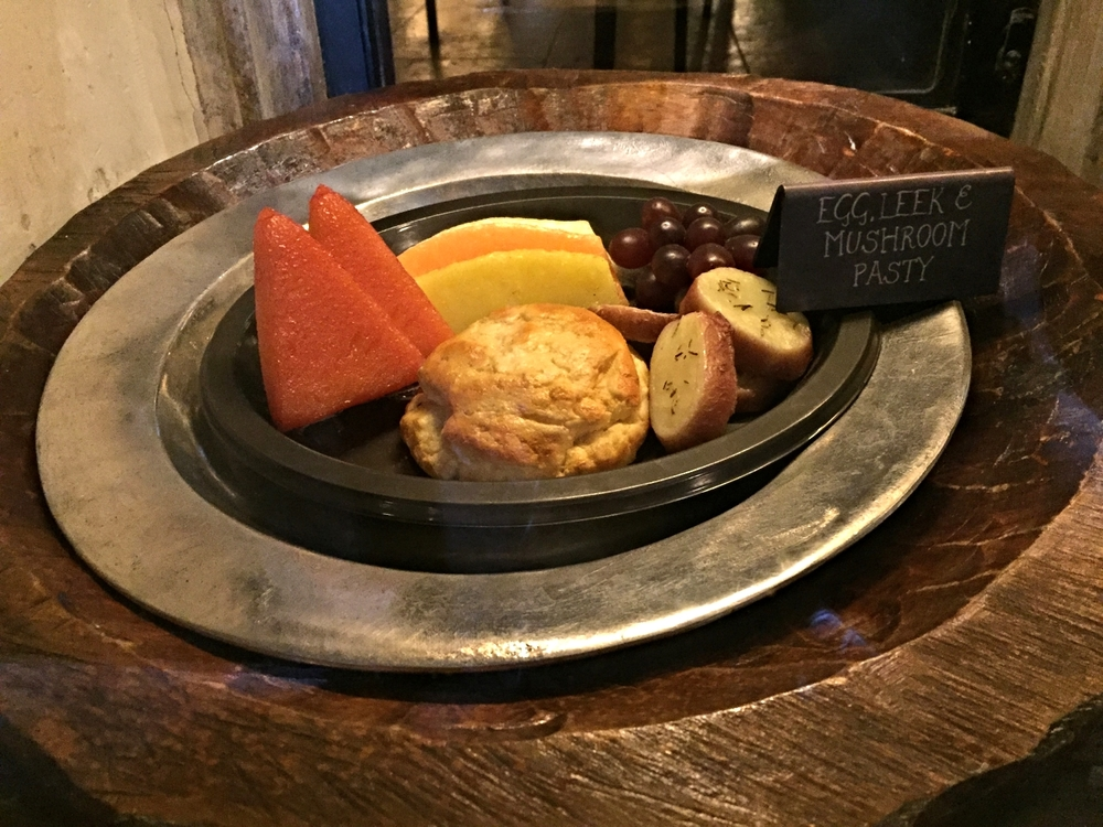 Egg, Leek and Mushroom Pasty at Leaky Cauldron