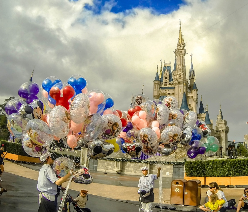 Balloon vendors near Cinderella's Castle in Magic Kingdom.  Copyright Bill Forshey. All rights reserved.