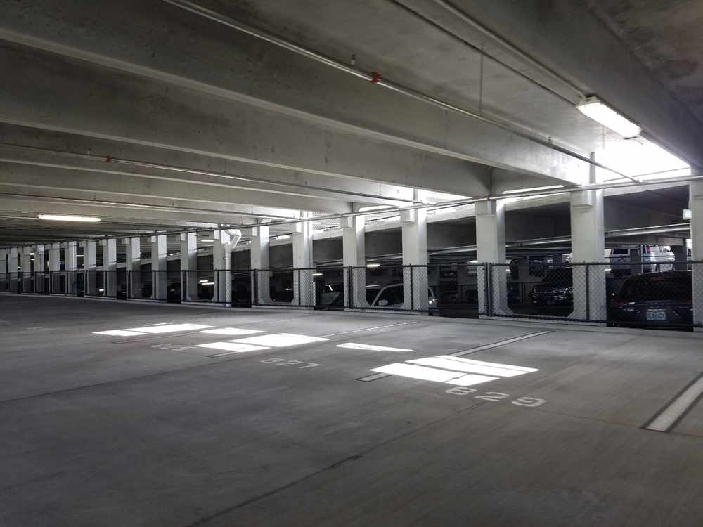 Level three of the Loews Sapphire Falls Resort parking garage. This garage has four levels and contains spaces for regular-sized cars and compact cars.