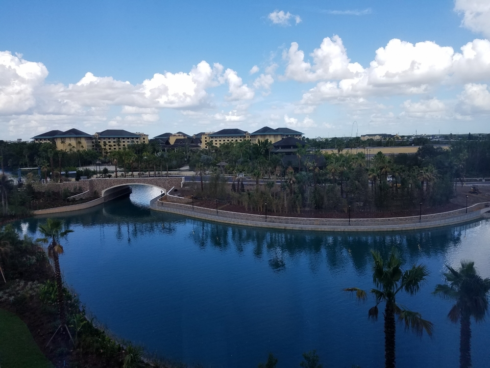 Lagoon view from the sixth floor of Guest House Two at Loews Sapphire Falls Resort. You can also see Loews Royal Pacific Resort (another on-site Universal hotel) in the background.
