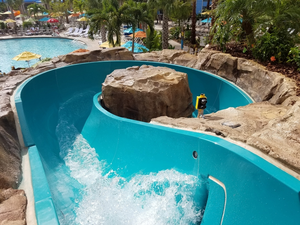 The top of the waterslide at Loews Sapphire Falls Resort.