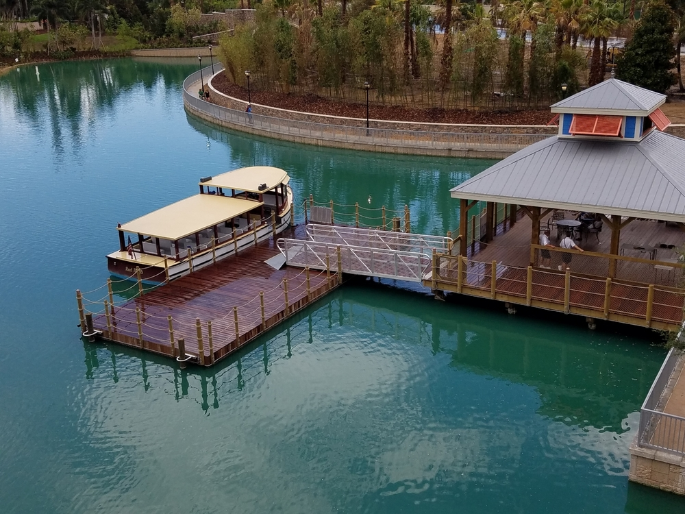Water taxi dock at Loews Sapphire Falls Resort. There is a security checkpoint that you must go through before boarding the water taxi.