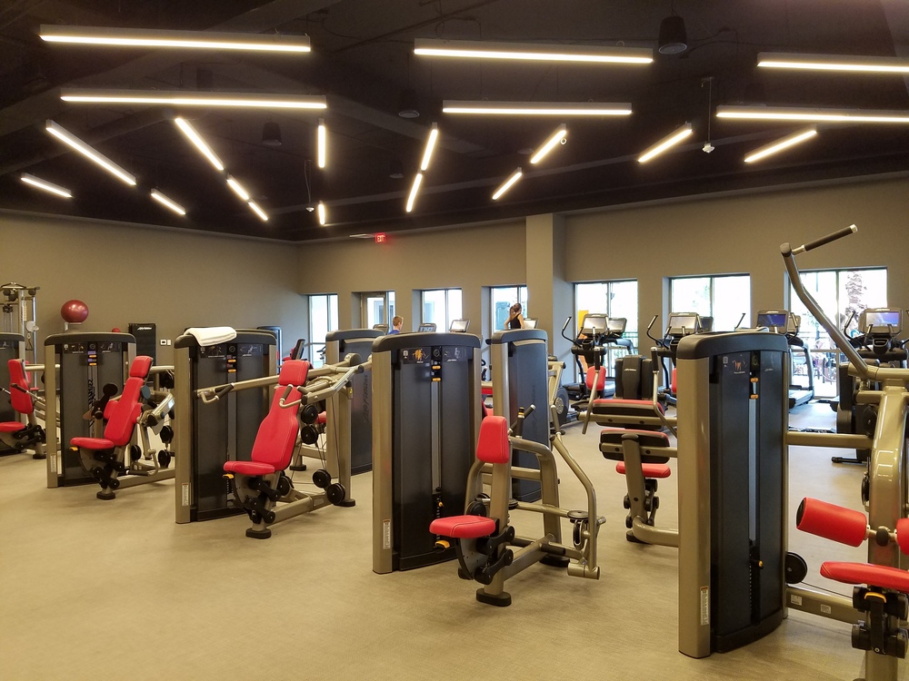 The Kalina Health and Fitness Center is filled with a variety of Life Fitness equipment. The fitness center is complimentary for guests of Loews Sapphire Falls Resort.