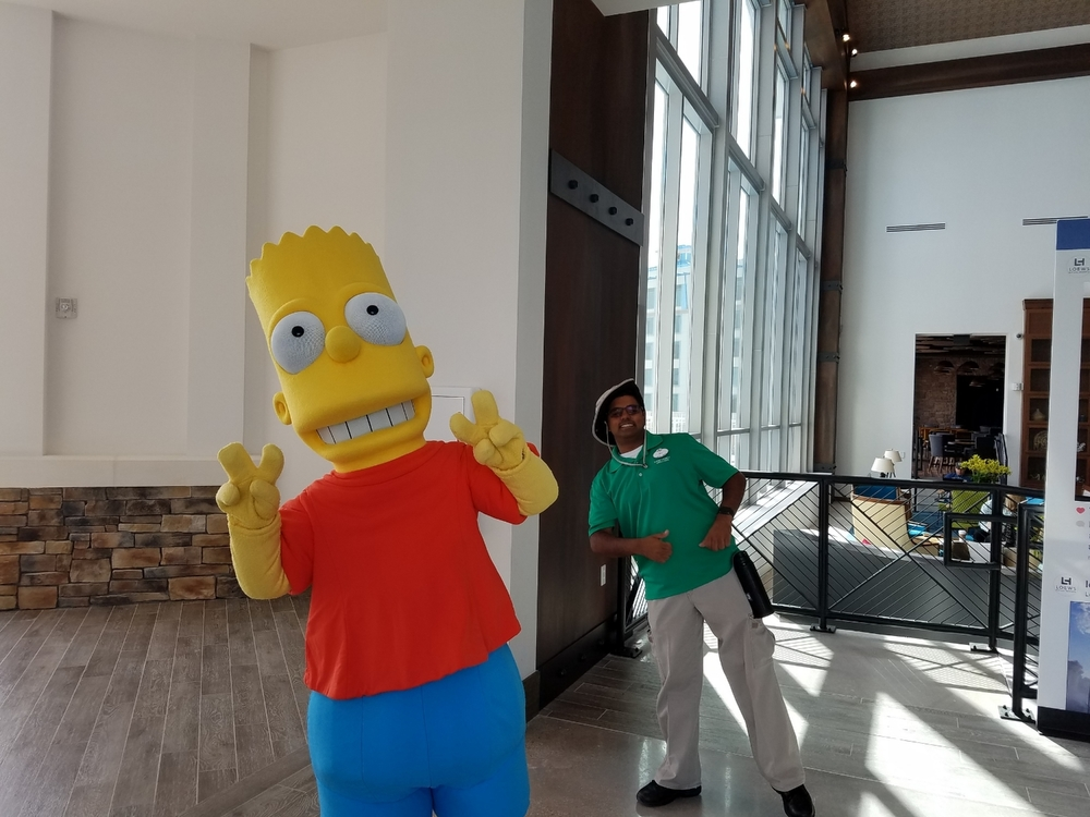 We saw Bart Simpson, Homer Simpson, Woody Woodpecker, Gru, and Minions on the lobby level during our stay at Loews Sapphire Falls Resort.