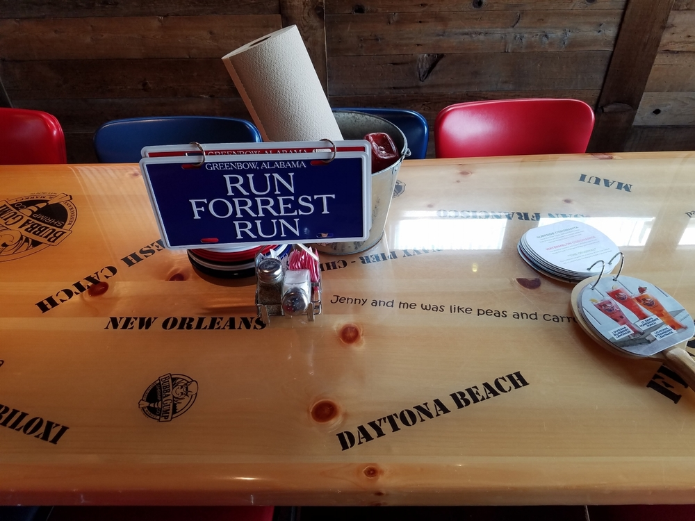 Movie Phrases and Locations on the Tables at Bubba Gump
