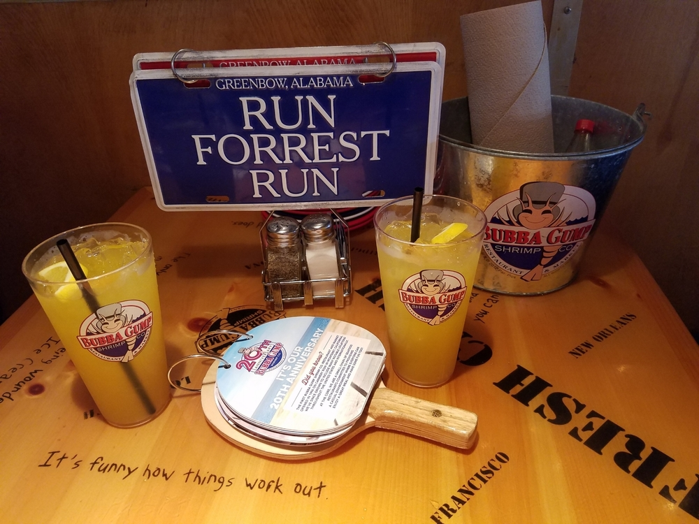 Forrest Gump themed booth at Bubba Gump Shrimp Co.