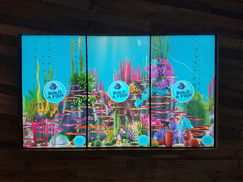 You can use these screens on the lower level of The Cowfish to build a fish.
