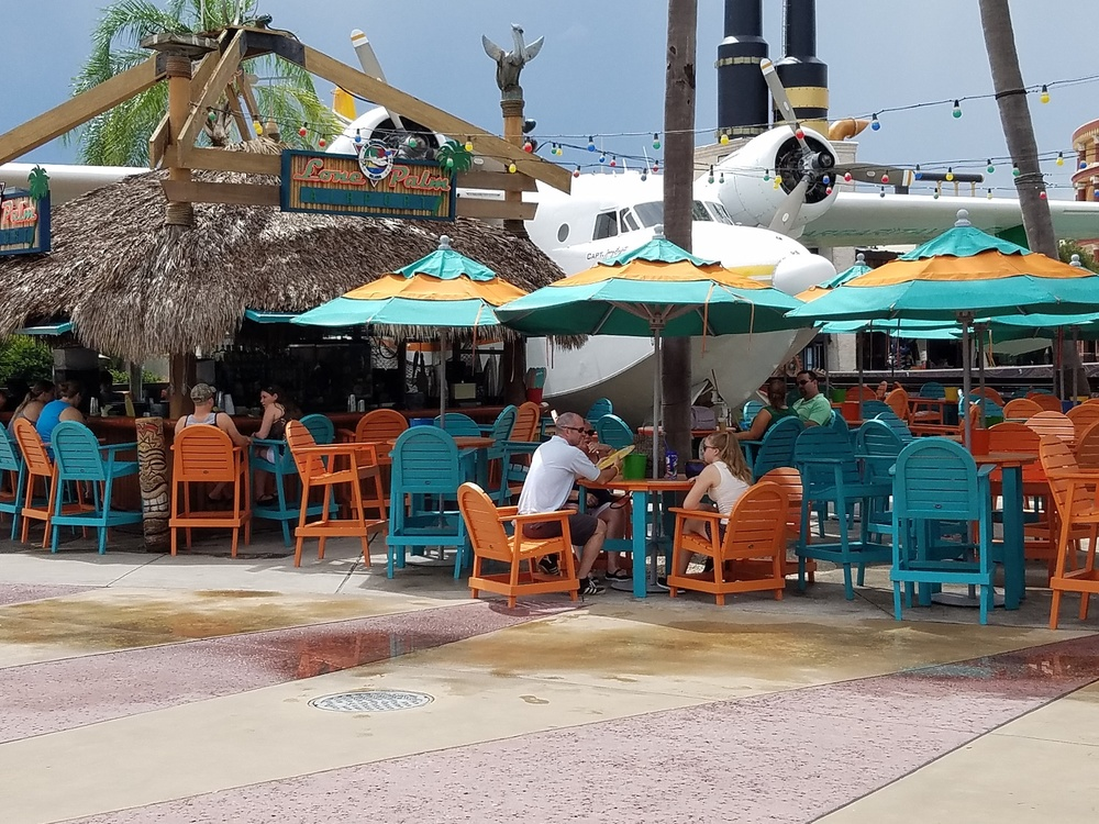 The Lone Palm Airport is an outdoor tiki bar that sits next to Jimmy Buffett's personal seaplane.