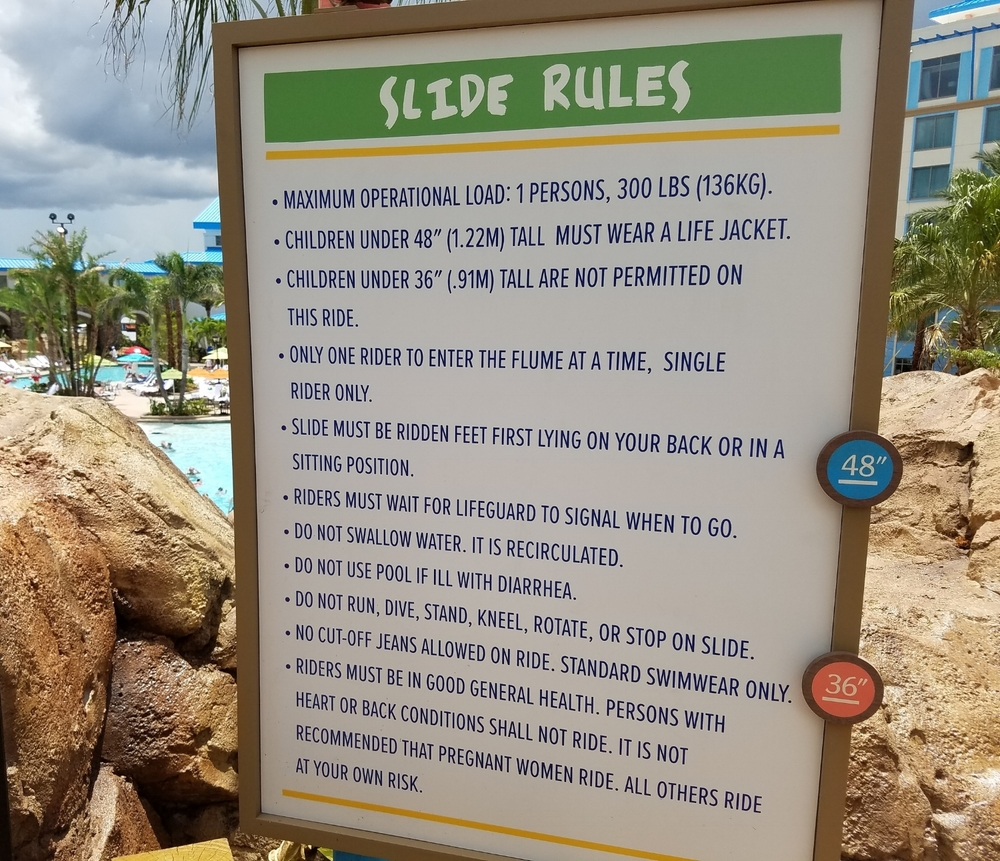 Water Slide Rules at Loews Sapphire Falls Resort