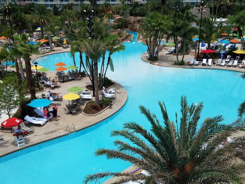 Looking down at the Loews Sapphire Falls Resort Pool