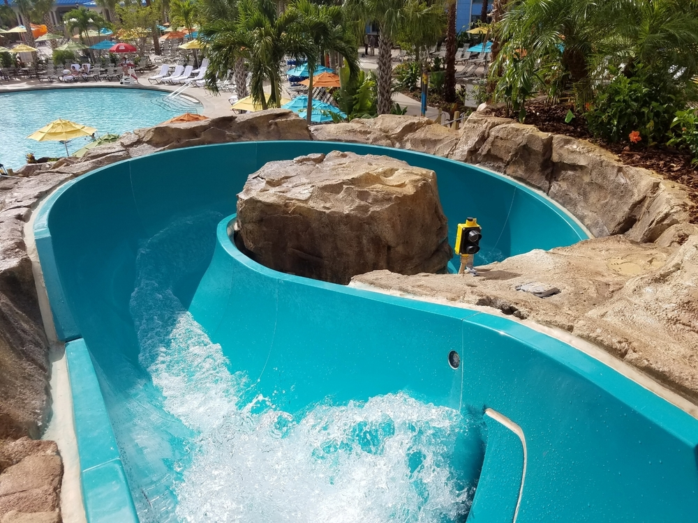 Getting in the Water Slide at Loews Sapphire Falls Resort