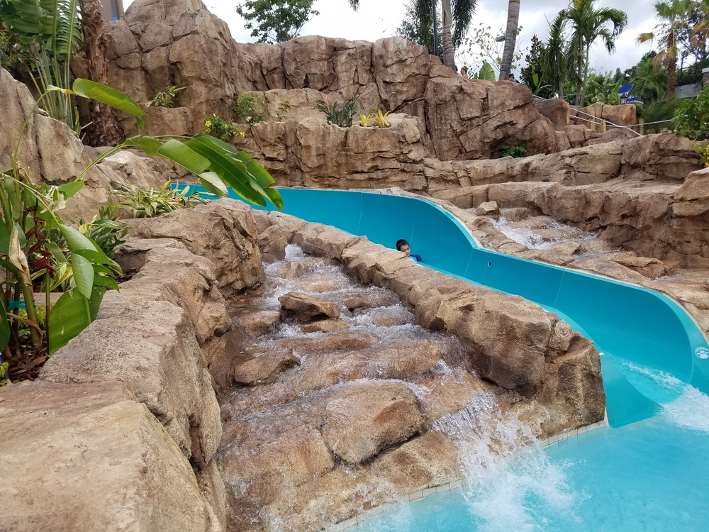 Where the Slide Meets the Pool at Loews Sapphire Falls Resort