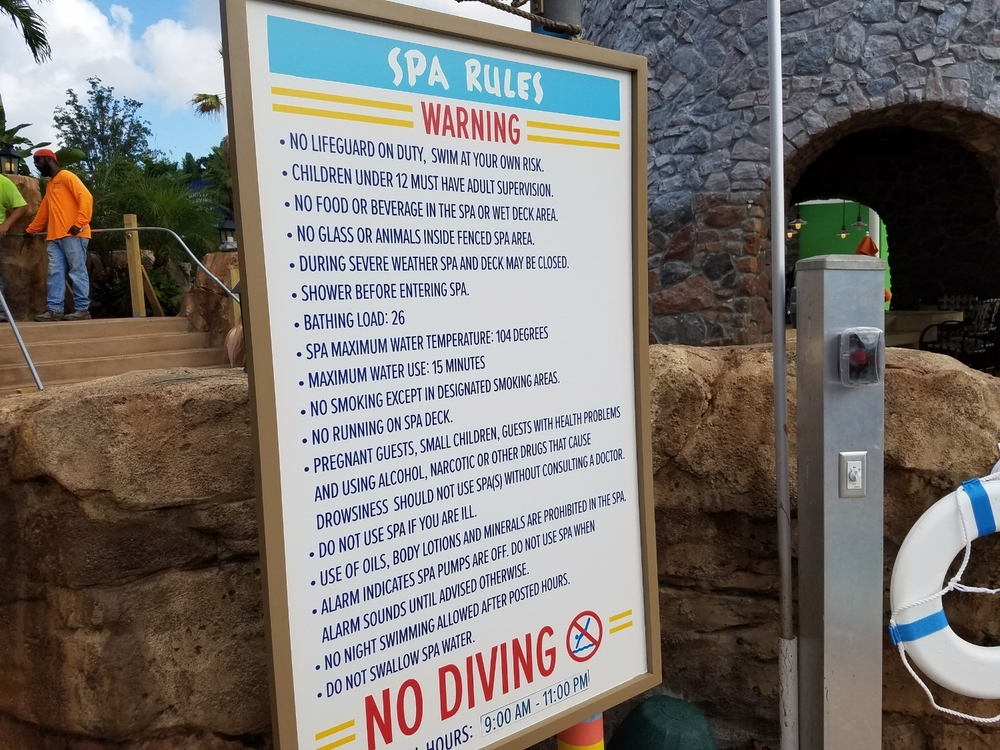Hot Tub Rules at Loews Sapphire Falls Resort