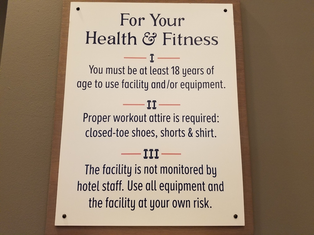 Kalina Health and Fitness Room Rules