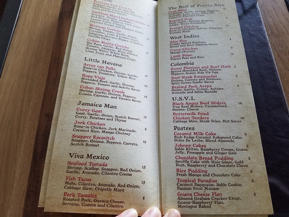 Some of the Menu at Strong Water Tavern