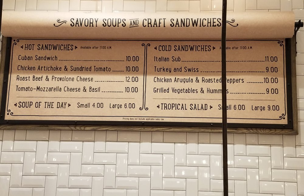 Soup and Sandwich Menu at New Dutch Trading Co.