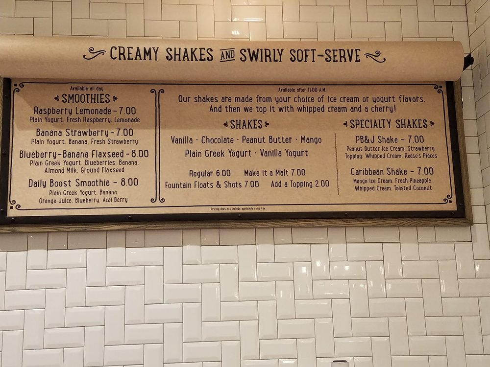 Ice Cream Menu at New Dutch Trading Co.