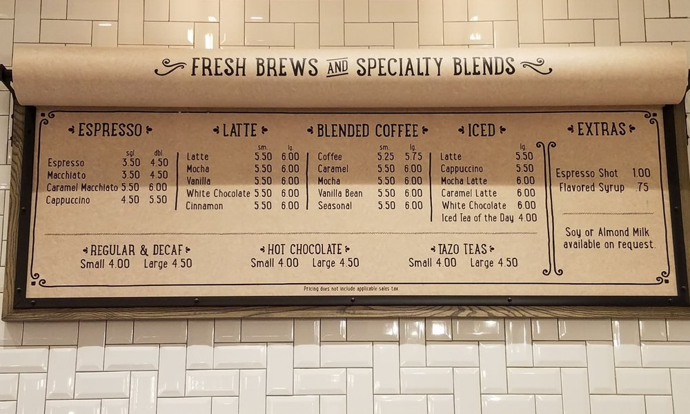 Coffee Menu at New Dutch Trading Co.