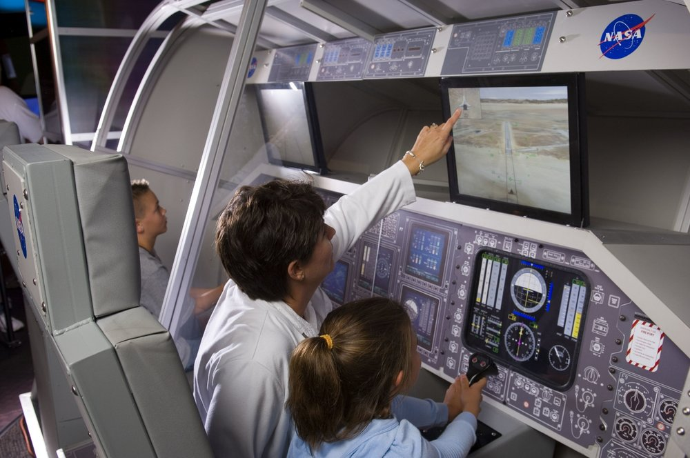 In the Space Discover WonderZone, guests can maneuver the controls of the Space Shuttle Discovery to see if they can make a clean landing.  Copyright: WonderWorks. All rights reserved.