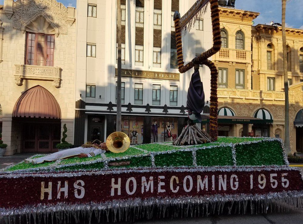The Hollywood High School Homecoming float in the Vamp '55 Scare Zone.