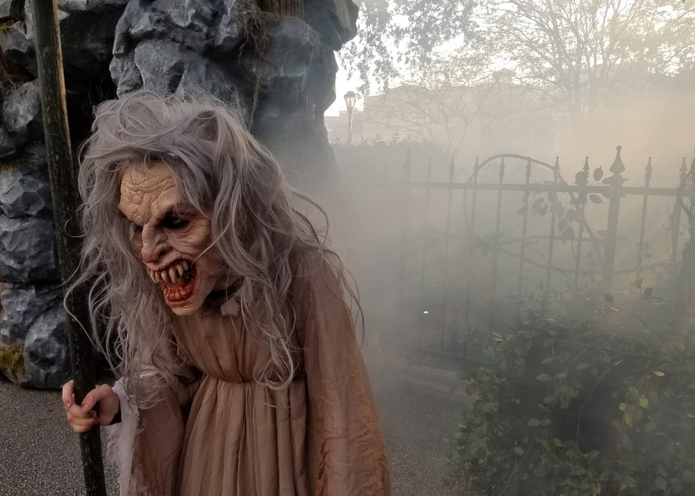 The fog helped to create a spooky atmosphere in the Lair of the Banshees Scare Zone.