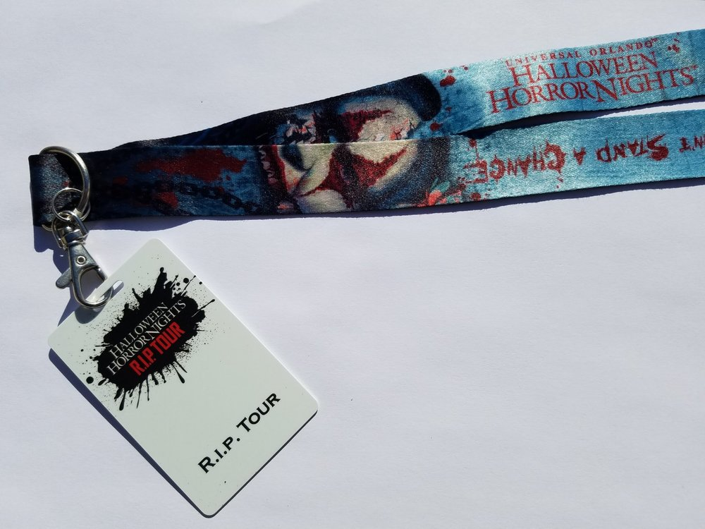 Everyone who participates in the HHN R.I.P. Tour gets a a commemorative R.I.P. Tour credential and lanyard.