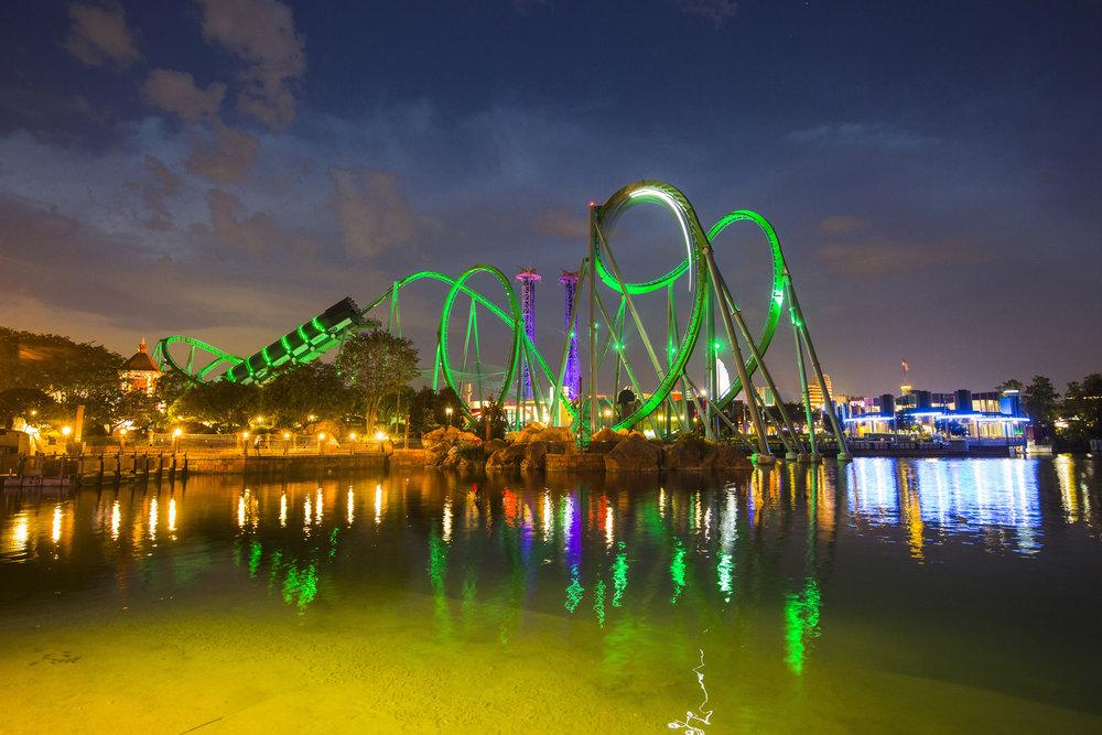 The Incredible Hulk Coaster at night. Image credit: Universal Orlando Resort.