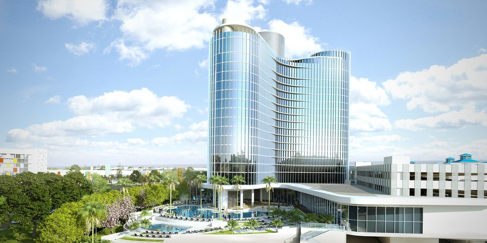 Concept  art for the pool level of Universal's Aventura Hotel. Copyright Universal Orlando Resort. All rights reserved.