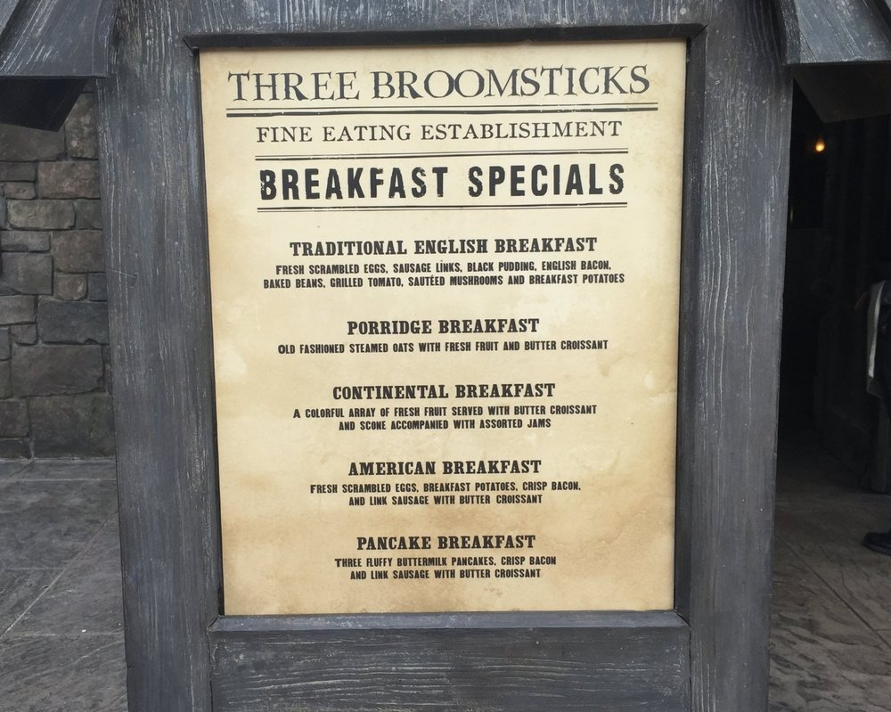 List of Breakfast Specials Outside Three Broomsticks