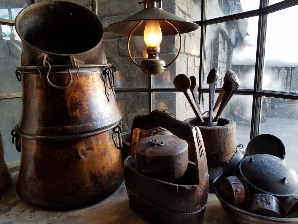 Cooking Utensils are Decoration at the Three Broomsticks