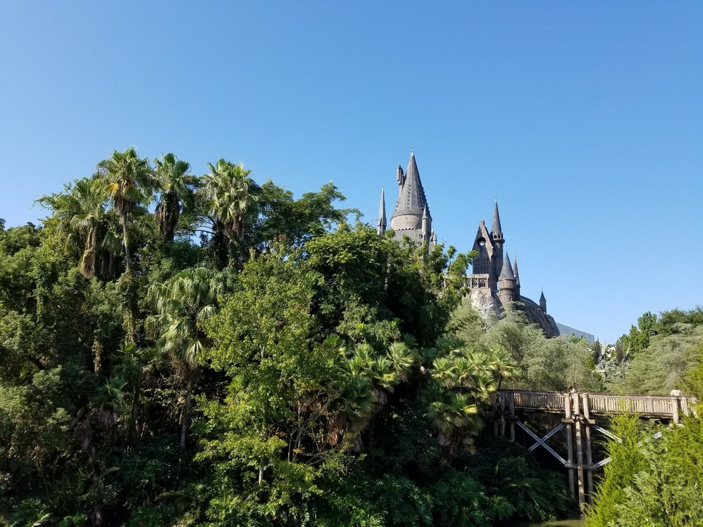 Hogwarts Castle from the Three Broomsticks Outdoor Seating Area