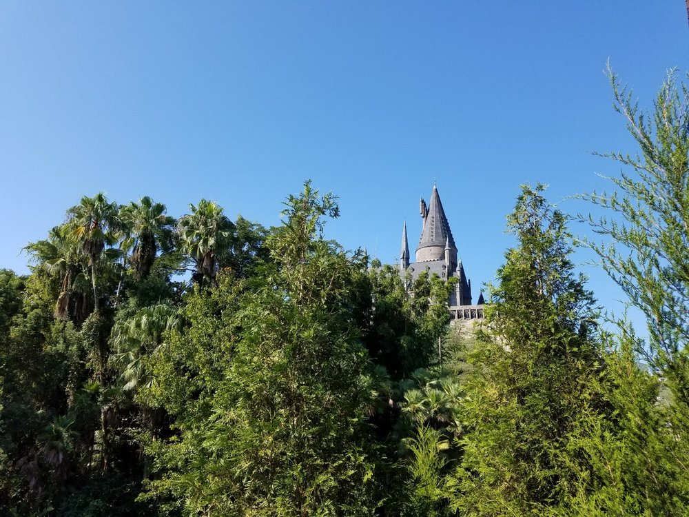 View of Hogwarts Castle from the Three Broomsticks Outdoor Seating Area