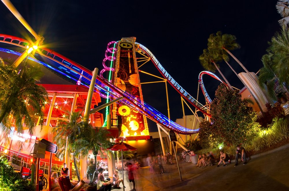 Hollywood Rip Ride Rockit at night.  Copyright Mike Sperduto. All rights reserved.