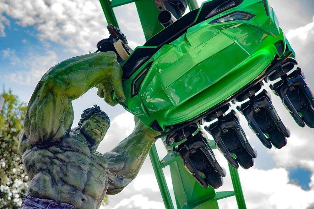 The marquee of The Incredible Hulk Coaster.  Copyright Mike Sperduto. All rights reserved.