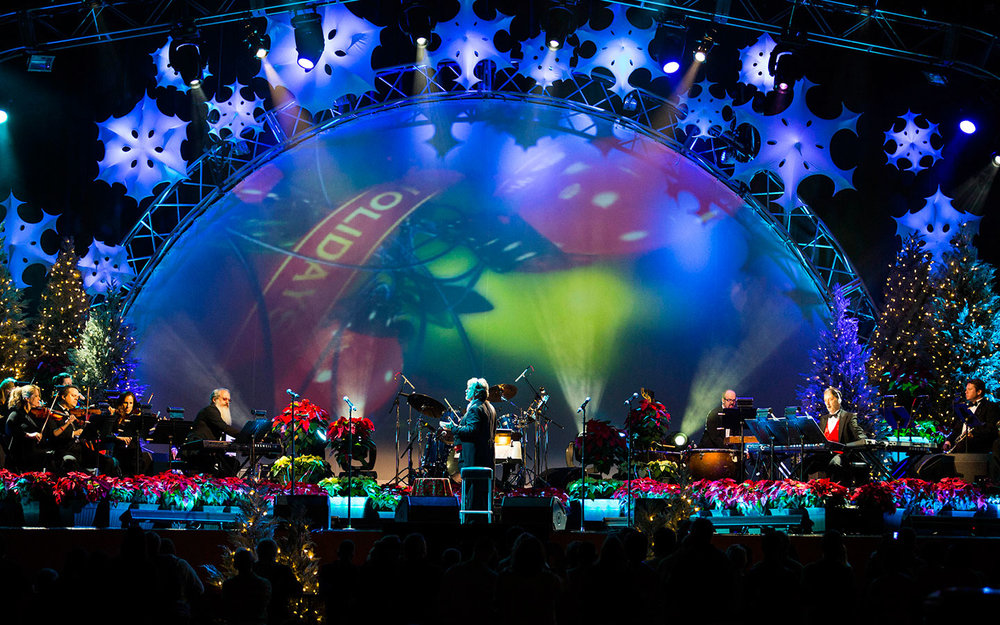 Mannheim Steamroller performs on the Music Plaza Stage in Universal Studios Florida. Image credit: Universal Orlando Resort.
