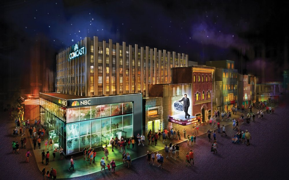 The facade for Race Through New York Starring Jimmy Fallon. Image credit: Universal Orlando Resort.