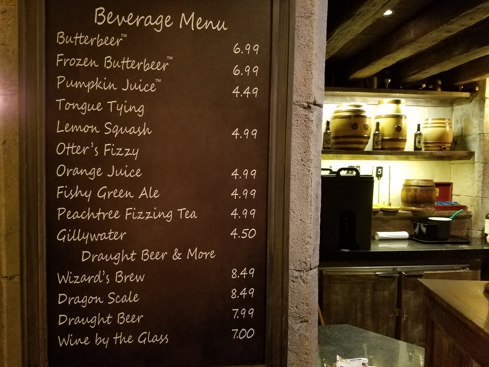 Drink Menu at the Leaky Cauldron