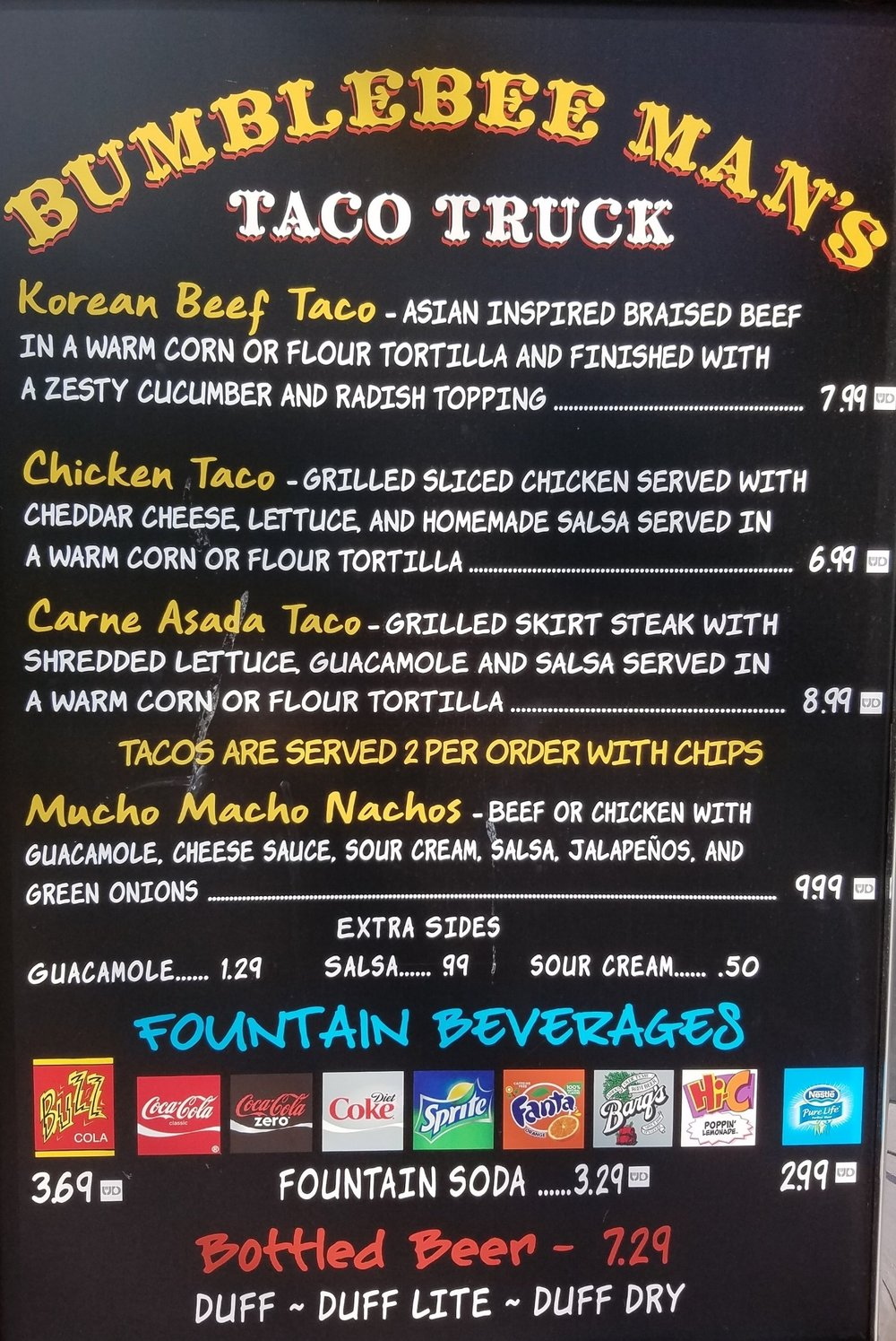 Bumblebee Man's Taco Truck menu with prices.