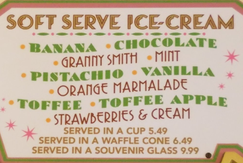 Florean Fortescue's soft serve ice cream menu