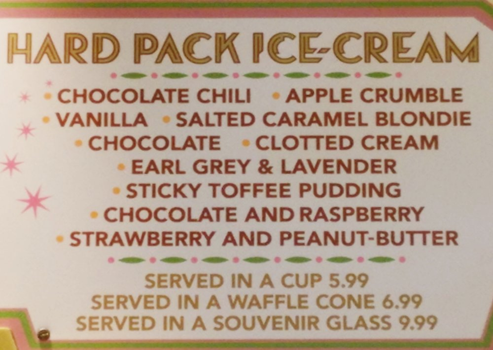 Florean Fortescue's hard pack ice cream menu