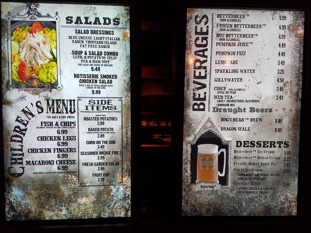 Three Broomsticks children's menu, sides menu, and beverage menu with prices.