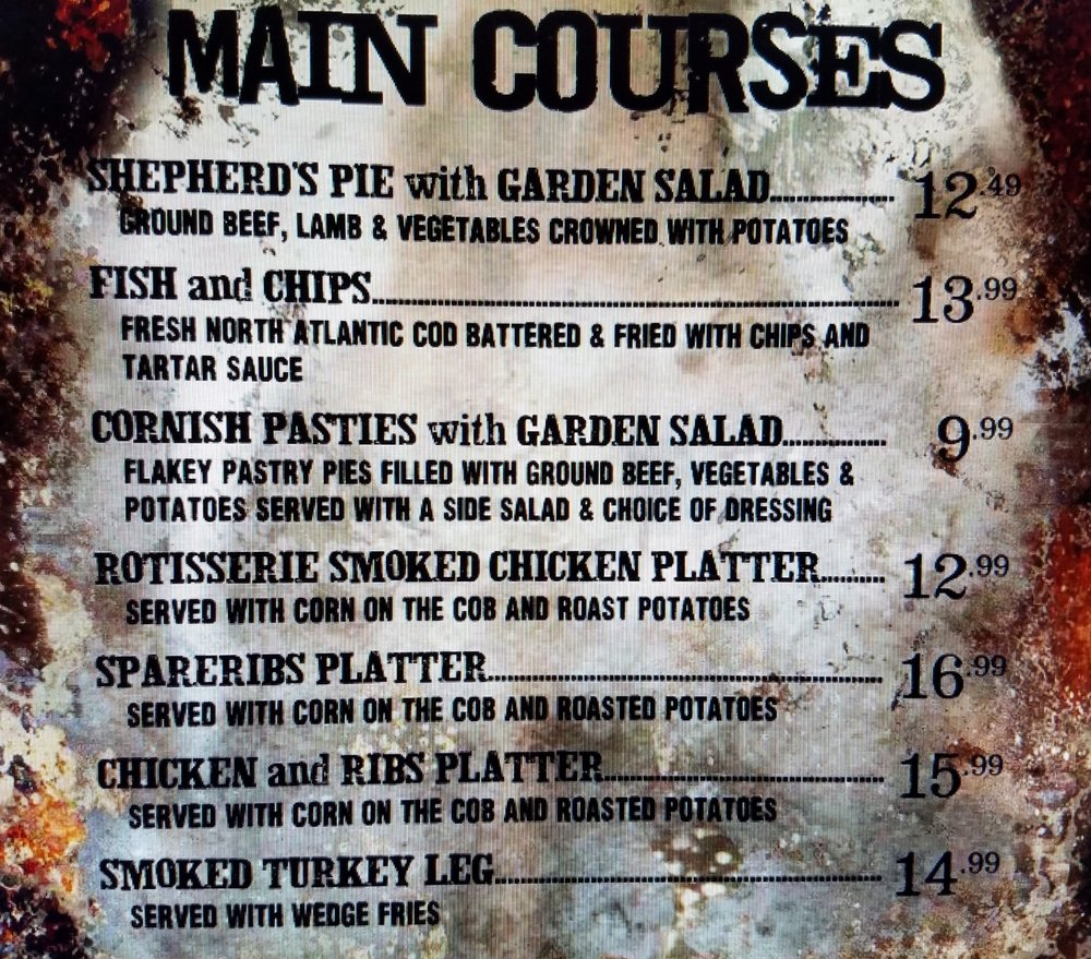 Three Broomsticks dinner menu with prices.