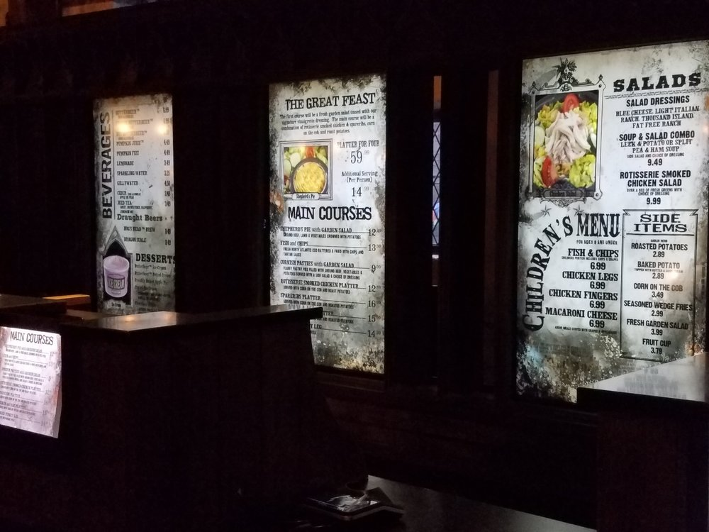 You'll order your food at Three Broomsticks at a counter like this one.